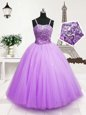 Low Price Lavender Zipper Spaghetti Straps Beading and Sequins Little Girl Pageant Dress Tulle Sleeveless