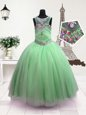 Trendy Scoop Apple Green Sleeveless Organza Zipper Pageant Gowns For Girls for Party and Wedding Party