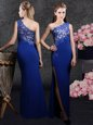 New Arrival Royal Blue Side Zipper One Shoulder Lace and Appliques Mother Of The Bride Dress Elastic Woven Satin Sleeveless
