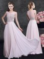 Best Selling Scoop Pink Sleeveless Beading Floor Length Mother Of The Bride Dress