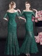 Fantastic Scalloped Dark Green Mermaid Lace Mother Of The Bride Dress Lace Up Lace Half Sleeves Floor Length