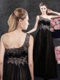 Tulle One Shoulder Sleeveless Side Zipper Appliques Mother Of The Bride Dress in Black