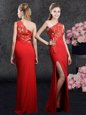 New Arrival One Shoulder Sleeveless Side Zipper Floor Length Lace and Appliques Mother Of The Bride Dress