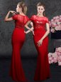 Artistic Red Column/Sheath Elastic Woven Satin Scoop Short Sleeves Appliques and Sequins With Train Zipper Mother Of The Bride Dress Brush Train