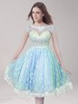 On Sale Lace Light Blue Prom Gown Prom and Party and For with Beading Scoop Sleeveless Backless