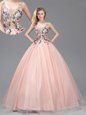 Trendy Straps See Through Baby Pink Sleeveless Floor Length Appliques Criss Cross 15th Birthday Dress