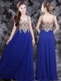Admirable Scoop Royal Blue Side Zipper Prom Evening Gown Appliques Sleeveless Floor Length