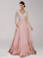 Fashionable Peach Empire Beading and Belt Prom Dress Zipper Taffeta Long Sleeves Asymmetrical