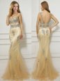Noble Mermaid Scoop Beading Dress for Prom Gold Backless Cap Sleeves With Brush Train