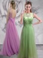 Lilac Empire Tulle Bateau Sleeveless Beading With Train Backless Dress for Prom Brush Train