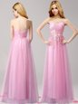 Spectacular Sweetheart Sleeveless Lace Up Prom Dresses Rose Pink Tulle