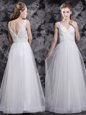 White Zipper Homecoming Gowns Beading and Appliques Sleeveless Floor Length