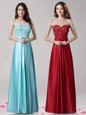 Flare Aqua Blue Empire Elastic Woven Satin Sweetheart Sleeveless Beading and Appliques and Bowknot Floor Length Zipper Prom Party Dress