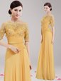 Excellent Scoop Gold Half Sleeves Appliques and Belt Floor Length Dress for Prom