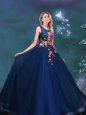 Captivating Scoop Tulle Sleeveless Floor Length Sweet 16 Dresses and Appliques