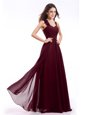 Fitting Straps Burgundy Zipper Dress for Prom Hand Made Flower Sleeveless Floor Length