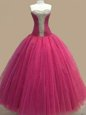 New Style Fuchsia Ball Gowns Tulle Sweetheart Sleeveless Beading Floor Length Lace Up