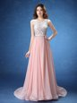 Fancy Scoop Lace and Appliques and Belt Dress Like A Star Baby Pink Zipper Sleeveless With Brush Train