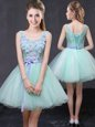 Scoop Apple Green Sleeveless Organza Lace Up Prom Gown for Prom and Party