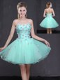 Edgy Appliques Evening Dress Apple Green Lace Up Sleeveless Mini Length