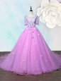 Exceptional Scoop Lilac Organza Lace Up Prom Evening Gown Half Sleeves With Train Court Train Beading and Appliques