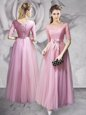 Scoop Pink Half Sleeves Floor Length Lace and Ruching and Bowknot Lace Up Prom Dresses