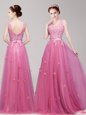 Admirable Floor Length Pink Prom Party Dress Tulle Sleeveless Appliques and Belt