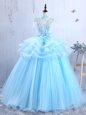 Organza Short Sleeves Floor Length Prom Dress and Appliques and Ruffles