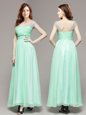 Dramatic Empire Prom Evening Gown Apple Green V-neck Chiffon Sleeveless Ankle Length Zipper