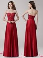Captivating Sweetheart Sleeveless Elastic Woven Satin Prom Evening Gown Beading and Appliques and Bowknot Zipper