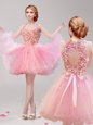 Cute Pink A-line Halter Top Sleeveless Tulle Mini Length Backless Ruffles and Hand Made Flower Dress for Prom