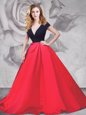 Red And Black A-line Ruching Prom Dresses Zipper Satin and Tulle Short Sleeves With Train