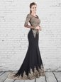 Fancy Mermaid Scoop Black Elastic Woven Satin Lace Up Prom Dress Long Sleeves With Brush Train Appliques