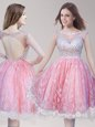 Lace Knee Length Pink And White Prom Party Dress Scoop Sleeveless Backless
