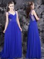 Superior Sleeveless Floor Length Beading Side Zipper Prom Evening Gown with Royal Blue