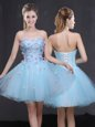 Custom Made Light Blue Lace Up Appliques Sleeveless Mini Length