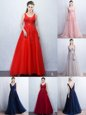 New Arrival Sleeveless Brush Train Appliques and Belt Backless Evening Dress