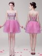 Delicate Lilac Prom Dresses Prom and Party and For with Beading Sweetheart Sleeveless Lace Up
