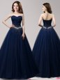 Excellent Floor Length Navy Blue Prom Gown Sweetheart Sleeveless Lace Up