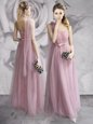 One Shoulder Sleeveless Lace Up Floor Length Ruching and Bowknot and Hand Made Flower Prom Dress