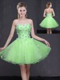Custom Designed Appliques Prom Evening Gown Lace Up Sleeveless Mini Length