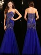 Nice Mermaid Royal Blue Sweetheart Neckline Beading Celebrity Prom Dress Sleeveless Zipper