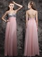Chiffon Sleeveless Floor Length Homecoming Dress and Beading and Sequins