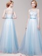 Stunning Scoop Sleeveless Tulle Floor Length Lace Up Prom Party Dress in Light Blue for with Appliques and Bowknot