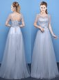 Best Scoop Floor Length Empire Short Sleeves Grey Prom Dress Lace Up