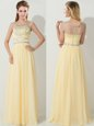 Hot Sale Scoop Floor Length Zipper Mother Of The Bride Dress Gold and In for Prom with Beading