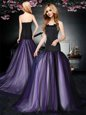 Edgy With Train Lace Up Oscars Dresses Black and Purple and In for Prom and Party with Ruching Brush Train