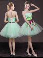 Dynamic A-line Prom Evening Gown Apple Green Strapless Organza Sleeveless Mini Length Lace Up