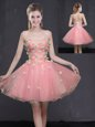 Modern Pink A-line Appliques Prom Dresses Lace Up Organza Sleeveless Mini Length