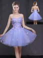Mini Length Lavender Evening Dress Tulle Sleeveless Appliques